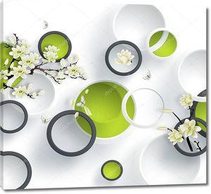 Зеленые круги, белые цветы на ветвях