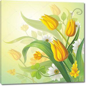 Желтые тюльпаны с ромашками
