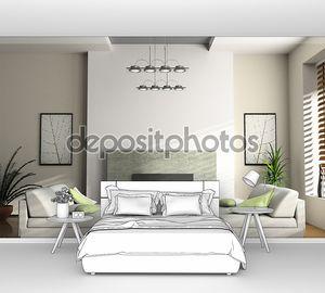 Интерьер дома с камином и диванами