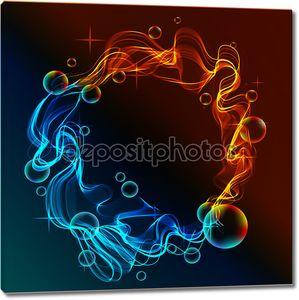 Абстрактный фон синий и красный, лед и огонь над темной
