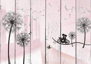 Мальчик и девочка на велосипеде, большие черные контуры одуванчиков