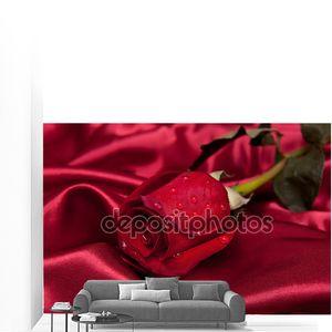 Красивые розы с каплями в Бургундии атласная ткань
