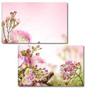 Нежный букет из пионов с мелкими цветами