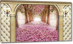 Опавшие лепестки цветов в арке