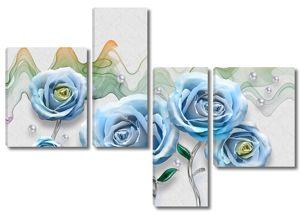 Цветные волны, синие розы на серебряных стеблях