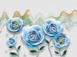Цветные волны, синие розы на тонких стеблях