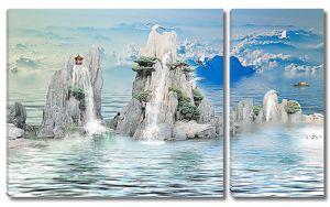 Водопады с острых скал