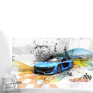 Голубая спортивная машина