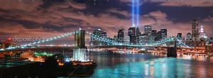 Панорама ночног Бруклинского моста