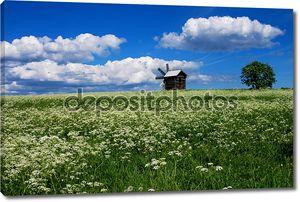 пейзаж с ветряная мельница