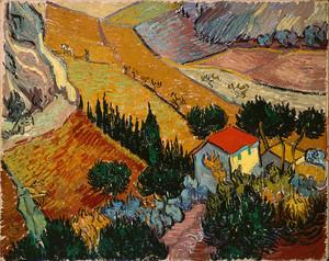 Ван Гог. Пейзаж с домом и пахарь