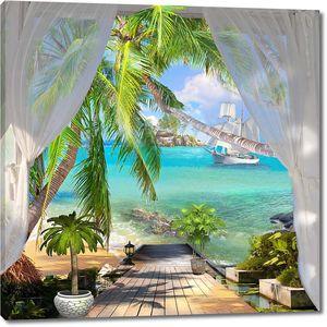 Терраса с пальмами на берегу