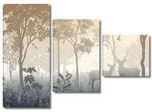 Туманный лес с оленями