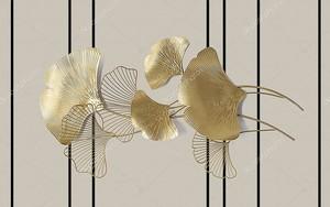 Золотые листья с полосами по фону
