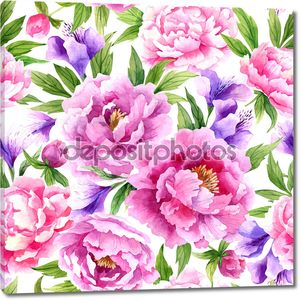 акварель картины с цветами пионов