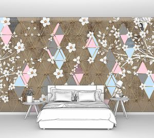 Triangle eden-Цветущие ветки на бежевых ромбах