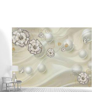 Серый шелковый фон, шары, серебристые  цветы