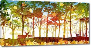 Осенний лесной пейзаж с оленями