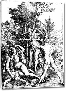 Черно-белая гравюра с обнаженными людьми