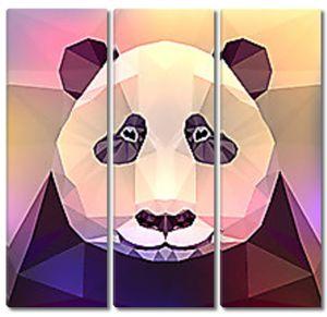 Голова панды геометрическими фигурами