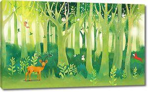 Лес с рисованными животными