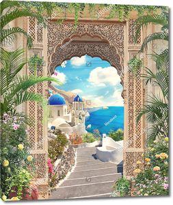 Восточная арка с видом на лестницу, ведущую в старый город