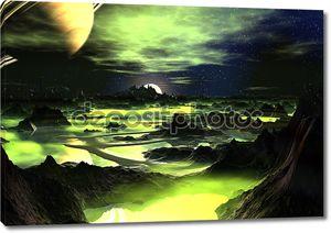 Чужеродные пейзаж зеленый лайм