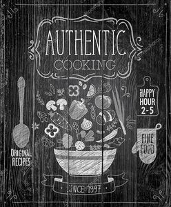 Authentic cooking poster - chalkboard style.