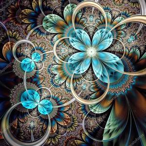 красочный свет Фрактальный цветок или бабочка