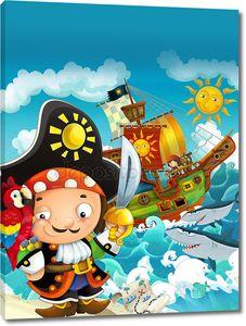 Мультфильм сцена с капитаном пиратов