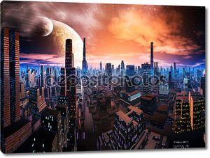 Неоновым светом Cityscape на далеком мире
