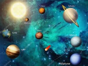 Космос,  далекие звезды,  планеты  с орбитами