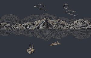 Гравюра. Горное озеро