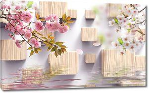 Кубы с древесной фактурой и ветки сакуры над водой