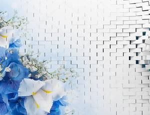 Белая кирпичная стена и большие ирисы