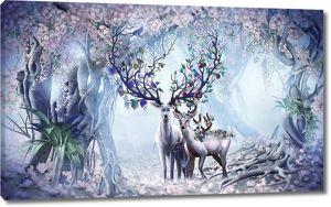 Семья оленей в волшебном лесу
