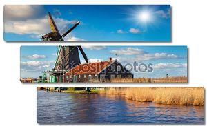 Аутентичные Зандам мельницы на канале воды