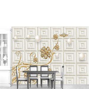 Тисненая плитка, жемчуг, золотой цветок с кристаллами