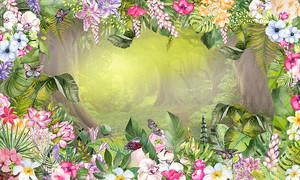 Сказочный лес в обрамлении цветов