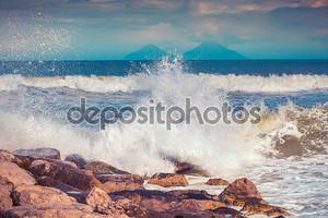 Spring sunny morning on Mediteranian beach
