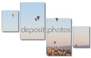 разноцветные воздушные шары в полете в небе, время восхода солнца