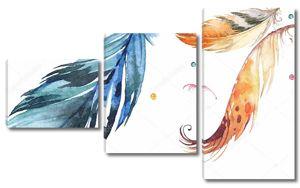 Абстрактная иллюстрация, белый фон, разноцветные шары, большие нарисованные перья