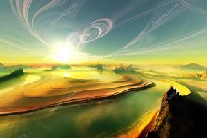 Реки в пустыне, яркое солнце