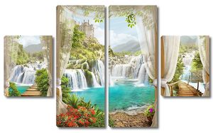Вид из бунгало на природу с водопадом