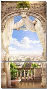 Вид с прекрасного балкона на город