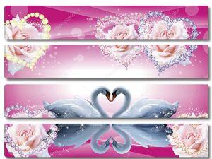 Два лебедя вместе в форме сердца