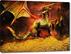 Красный дракон на куче золота