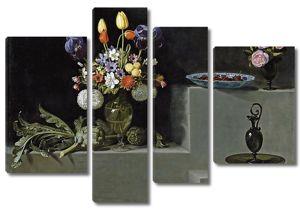 Хуан Ван дер Хамен. Натюрморт с артишоками, цветами и стеклянной посудой