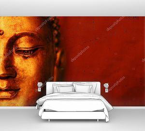 Лицо Будды с красным фоном