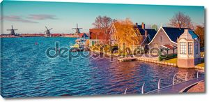 Panorama of the tipical Dutch village Zaanstad
